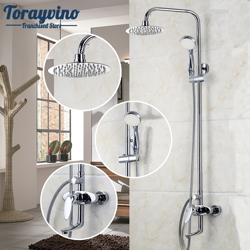 Bathroom LED Polished Chrome Waterfall Rain Shower Faucet & Hand Shower Wall Mounted Bathroom Faucet And Shower Set luxury led bathroom shower head faucet chrome brass rain waterfall shower set faucet wall mounted with abs hand shower