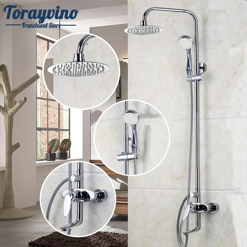 Bathroom LED Polished Chrome Waterfall Rain Shower Faucet & Hand Shower Wall Mounted Bathroom Faucet And Shower Set bathroom led polished chrome waterfall rain shower faucet
