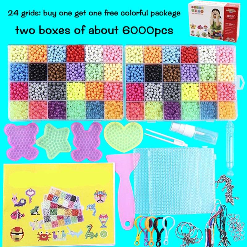 Puzzle multicolore bricolage jet d'eau perles magiques anneau recharge jouets pour enfants Kit éducatif boule jeu perles Juguetes