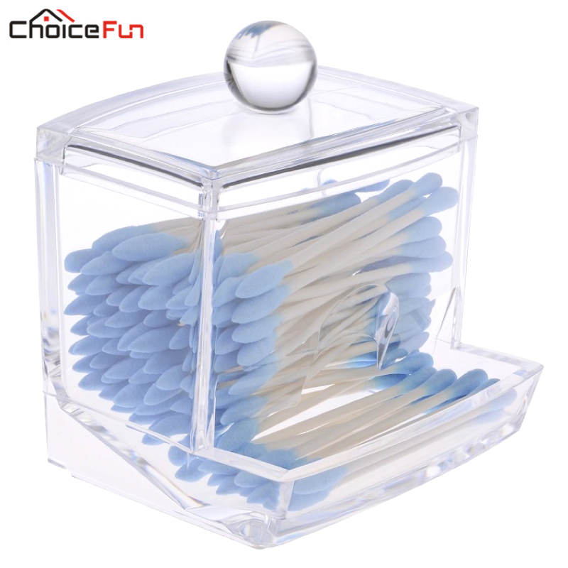 CHOICE FUN Small Clear Acrylic Bathroom Storage Q Tip Cotton Swab Holder Cosmetic Makeup Organizer Cute Cotton Bud Box With Lid