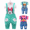 Promotion Lowest Price Kids Clothes Baby Girls Clothing Sets Toddler Kids Girls Clothes Set Overalls Set Minnie 2017 New