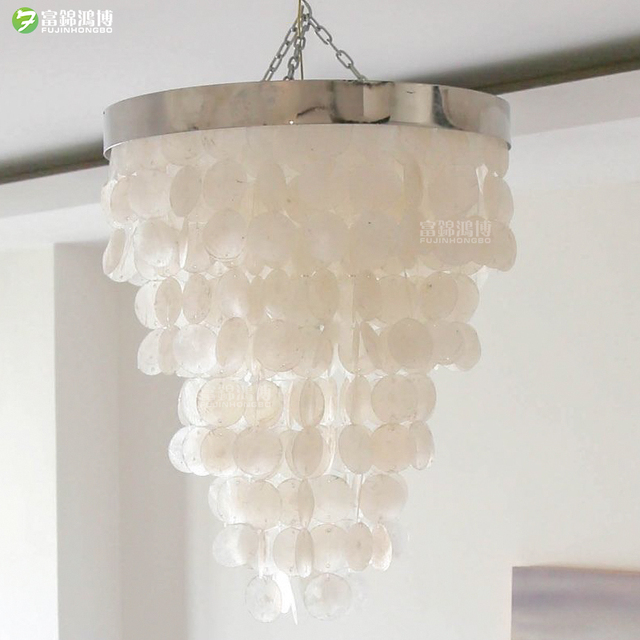 Modern White Natural Seashell Pendant Lamps E14 Led Shell Lighting For Dining Room Living Kitchen