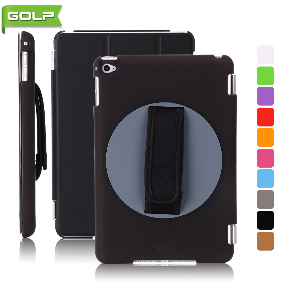 Case for iPad Mini 4, GOLP Perfect fit PU Leather Cover  360 degree Rotating Hand Holding Swivel PC tablet Case for iPad Mini 4 stylish 360 degree rotating swivel protective pu leather case for ipad 2 new ipad brown