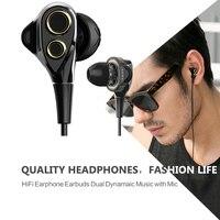 UiiSii BA T8 Dual Dynamaic Drive Earphones Super Bass HiFi In Ear Headphone With Microphone Noise
