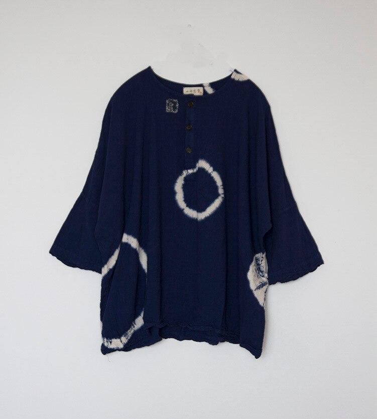 Tops Tie Tamaño Primavera Impresión Camisa 2018 Blue Algodón Dye Casual Mujeres Vintage Más O cuello Lino Pullover Suelta Retro Círculo Del TwOq4OxFB