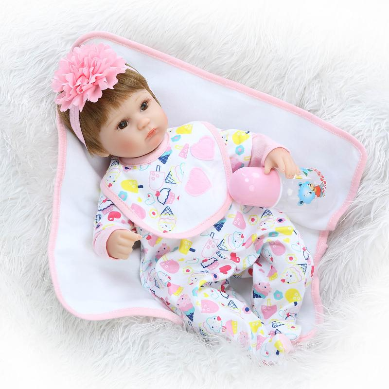 ФОТО 43cm Silicone Reborn Baby Doll kids Playmate Gift For Girls 18 Inch Baby Alive Soft Toys For Bouquets Doll Bebe Reborn