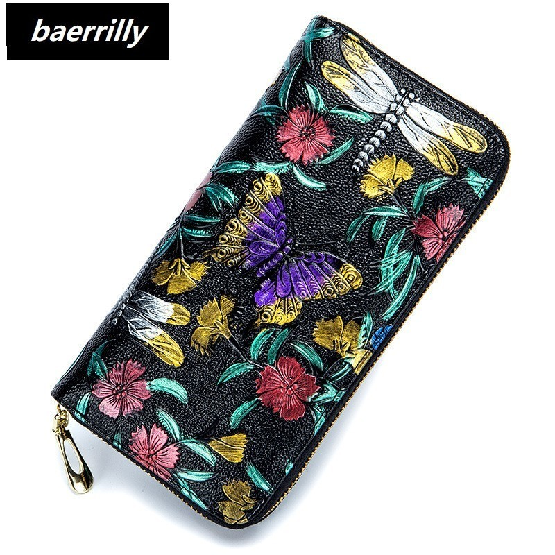 New Embossing Flower Wallet Women Long Design Lady Hasp Clutch Wallet Genuine Cow Leather Female Card Holder Wallets Coin Purse