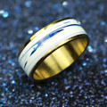 New Fashion 6 mm Width Row A Promise Crystal White Ceramic Ring 316L Stainless Steel  Gold Plated Lover Ring Wedding Band