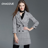 CHAOJUE Female Tartan Blazer 2018 Spring/Autumn New Design Double Breasted Striped Coat Womens Causal Fashion Suit Top