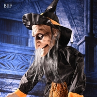 BUF Big Size Voice Control Halloween Party Decoration Hanging Witch Creative Halloween Party Decorative Props Witch