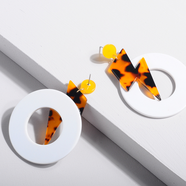 Resin Tortoiseshell Yellow Earring For Women