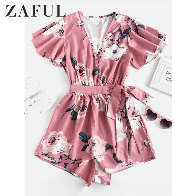 ZAFUL Floral Print Belted Layered Romper Women Jumpsuit Fall Loose Plunging Neck Butterfly Sleeve Mini Playsuits  Overalls