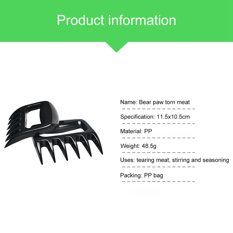 Meat Shredder Claws Wooden Handle Stainless Steel Bear Paws Chicken Separator Handler Food Forks Puller Barbecue BBQ Tools rvs (7)