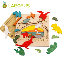 Wooden Cartoon Multilayer Jigsaw Animal Puzzle Dinosaur Cartoon Puzzle Wooden Toy Baby Kids Children Educational Toy