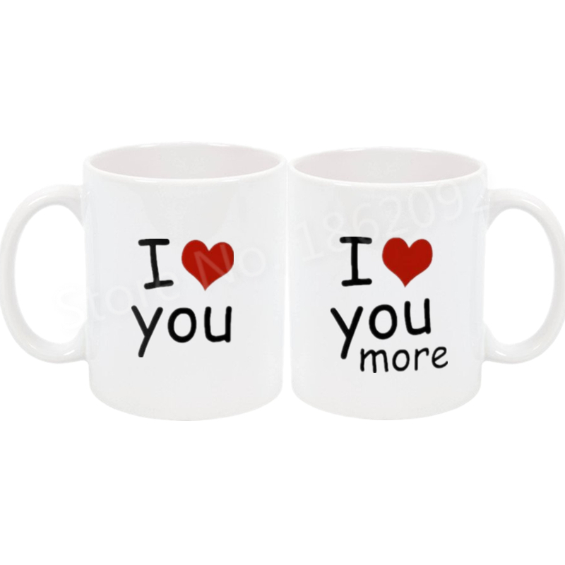 dd28a957472 US $27.29 9% OFF Hot I Love You I Love You More Couple Mug Set Matching His  Her Coffee Tea Mugs Cup Anniversary Wedding Valentine Girlfriend Gift-in ...