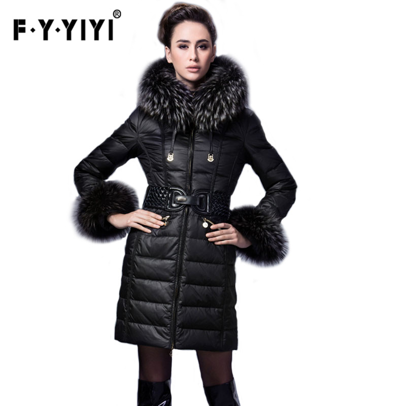 anora Classic luxury   down   jacket women Europe and the United States high-end Authentic 2016 New Winter Fur Collar Thick   Coat