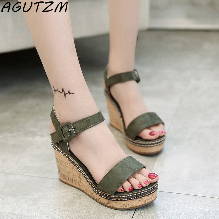 Wedge Sandals Cross-Strap High-Heels Bohemia Straw-Brand Fashion New Gladiator Bukle