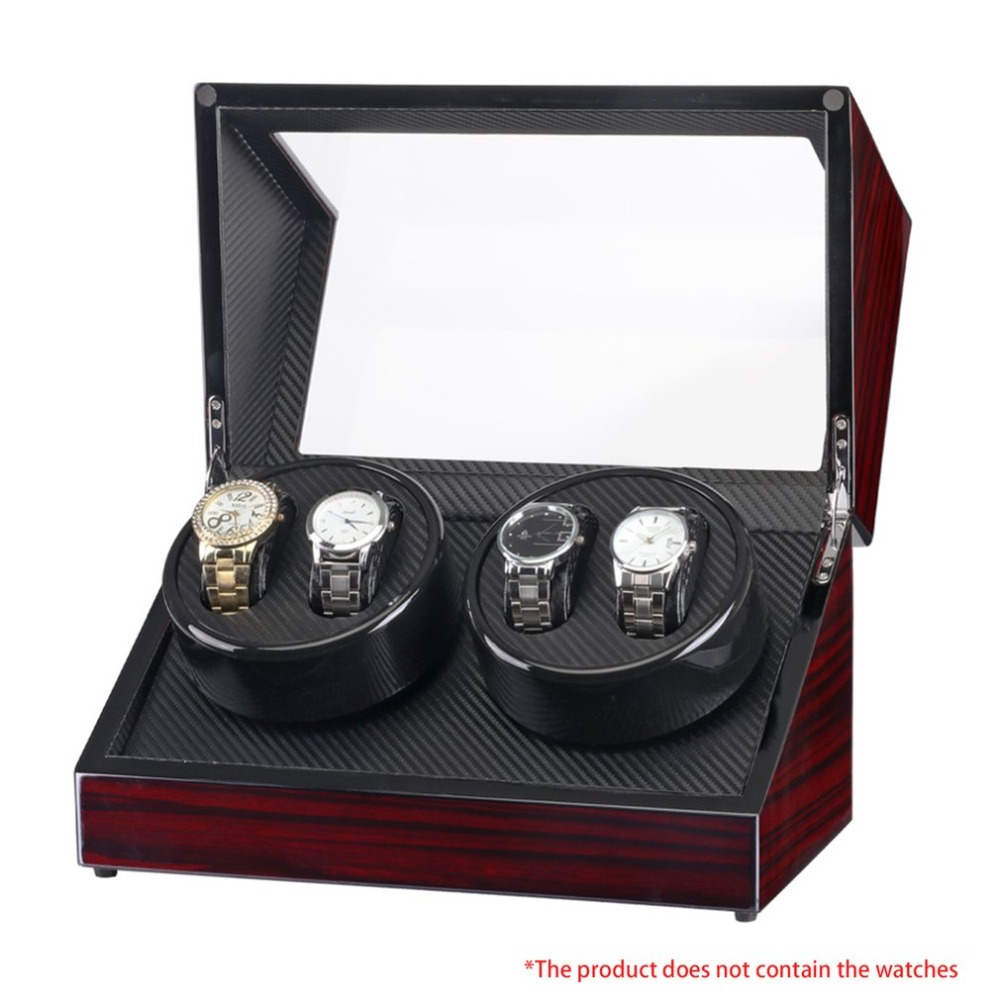 Double Head 4 Slots Lacquer Wood Rotate Electric Watch Winder Box Silent Motor Display Clock Winder Watch Case Elegant цена и фото