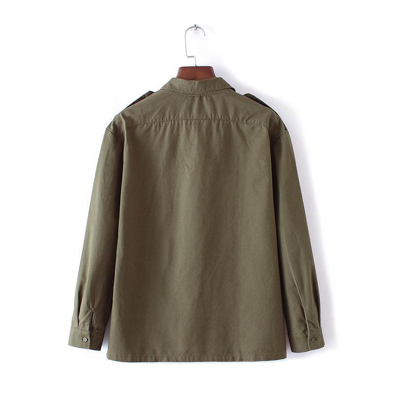 Otoño Mujer Chaquetas Abrigos de Alta Calidad Bordado Verde Del Ejército de Man