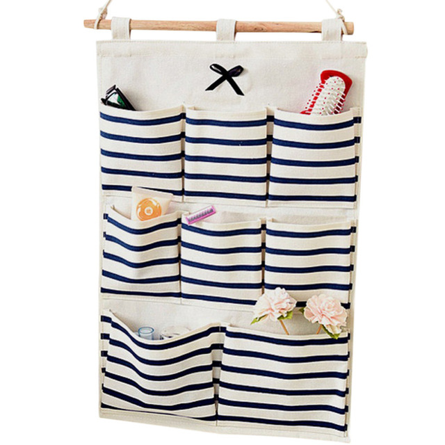 8 Pockets Linen Hanging Storage Bag Door Wall Mounted Storage Organizer  Underwear Sock Cosmetic Make Up