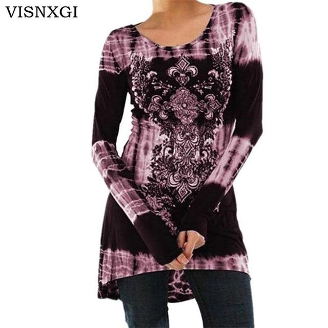 77c176526f58a VISNXGI Autumn Floral Print Dresses Casual Long Sleeve O Neck Dresses Party  Vestidos Plus Size S-5XL Irregular Fashion Clothes