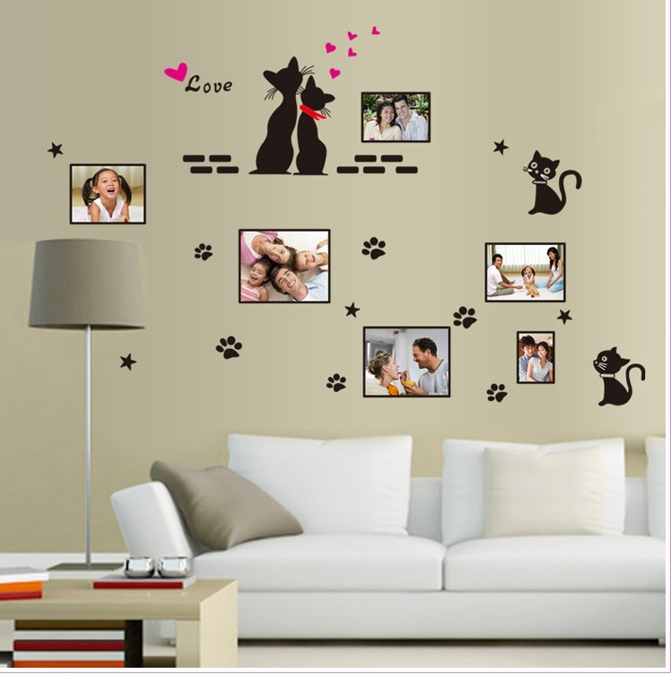 cute love black cat wall sticker photo frame decals home decor children living room nursery poster