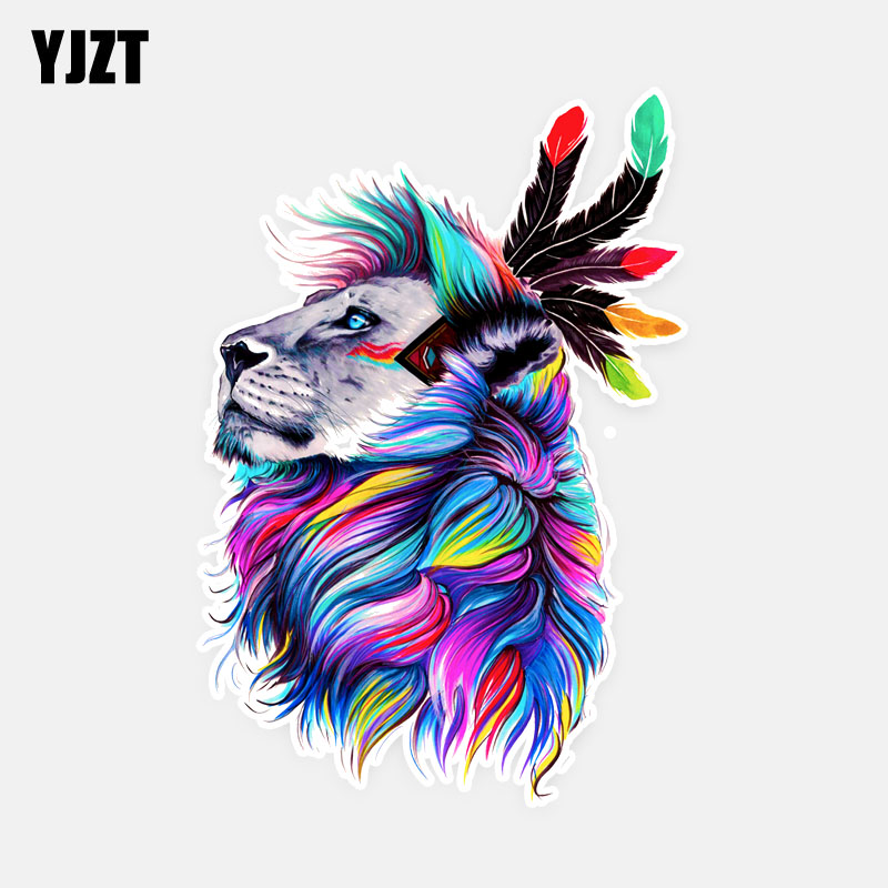 YJZT 12CM*17.5CM Beautiful Animal Lion With Colourful Hair PVC Car Sticker Popular Decal 5-0580