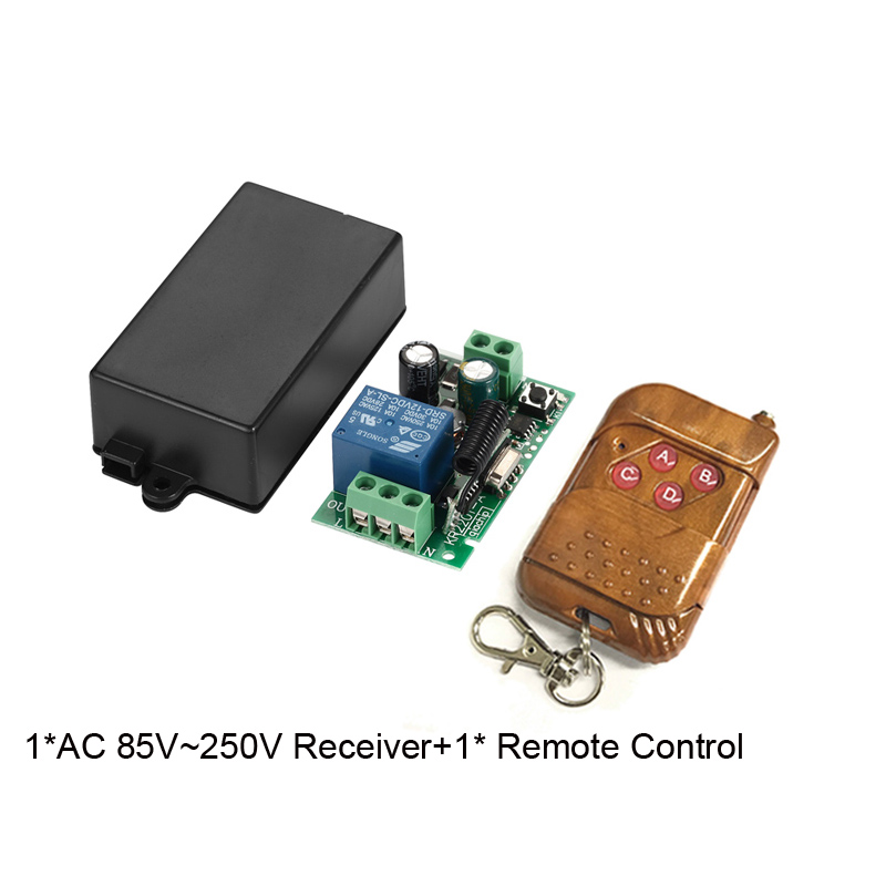 433MHz Universal Wireless Remote Control Switch AC 110V 220V 1 Channel Relay Receiver and 4 Pieces 4 Button RF Remote Control