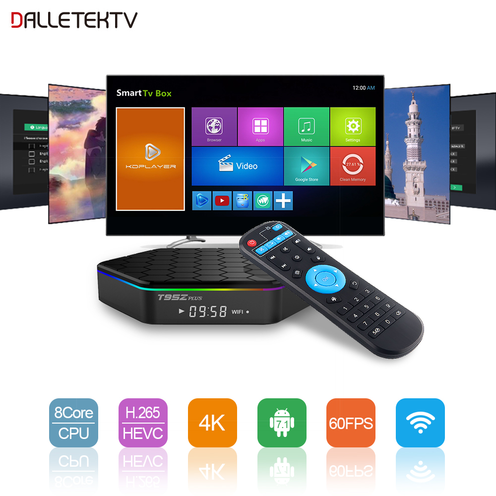 Receptor de TV Android S912 Caja de TV de 2GB / 16GB WIFI Caja de Android 7.1 T95ZPLUS Soporte BT Dual-WIFI H.265 Reproductor multimedia Smart Set Top Box