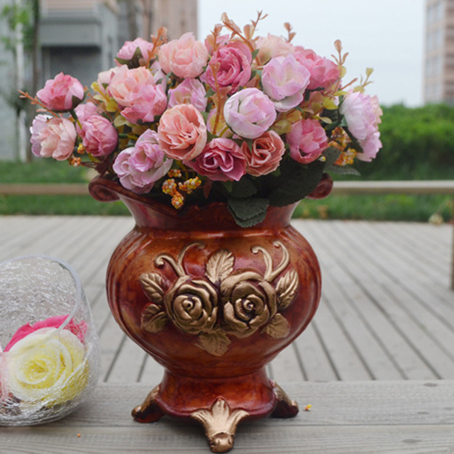 21Heads Artificial Silk Flowers European Fall Vivid Diamond Rose Fake Leaf For Home Office Hotel Wedding Garden Party Decor 2017
