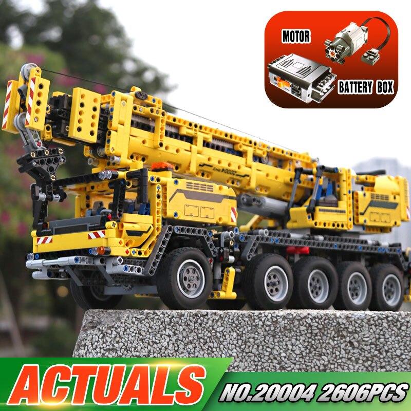 LEPIN 20004 2606Pcs Technic Motor Power Mobile Crane Mk II Model Building Kits Minifigure Blocks Bricks