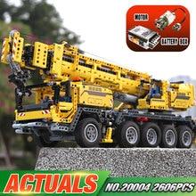 LEPIN 20004 In Stock 2606Pcs Technic Motor Power Mobile Crane Mk II Model Building Kits Blocks Bricks Christmas Gift Toy 42009