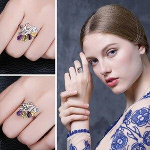 Image 4 - Jewelrypalac天然アメジストシトリンガーネットペリドットトパーズリング 925 スターリングシルバーリング女性用シルバー 925 宝石ジュエリー