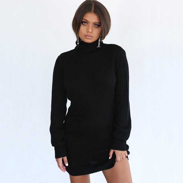 5b6273a0116 BEFORW Long Sleeve Turtleneck Knitted Dress Women Casual Autumn Winter  Sweater Dress Female Sexy Elegant Pullover Mini Dresses