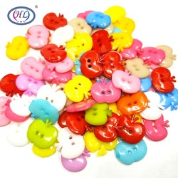 HL 30pcs 15mmx12mm Mixed Color Apple Plastic Buttons 2 Holes Kid's Apparel Sewing Accessories DIY Scrapbooking Crafts