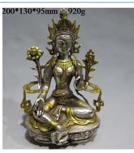 Vintage Tibet Silver Copper Gilt Tibetan Buddhism Statue --- Green Tara Buddha wholesale factory Bronze Arts outlets