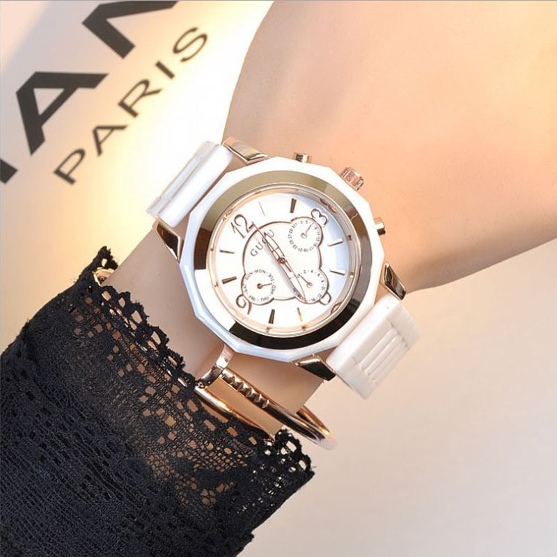 GUOU Ladies Watch Top Brand Wrist Watches Ceramic Strap Calendar Fashion Watch Women Watches Luxury Clock saat relogio feminino new top brand guou women watches luxury rhinestone ladies quartz watch casual fashion leather strap wristwatch relogio feminino