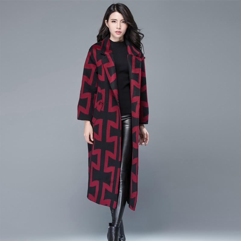 Survêtement Femmes Vintage Cachemire Manteau Géométrique D'hiver Multi Ceinture G420 Grande Chaud Épais Avec Lâche Mode Taille qCT1P