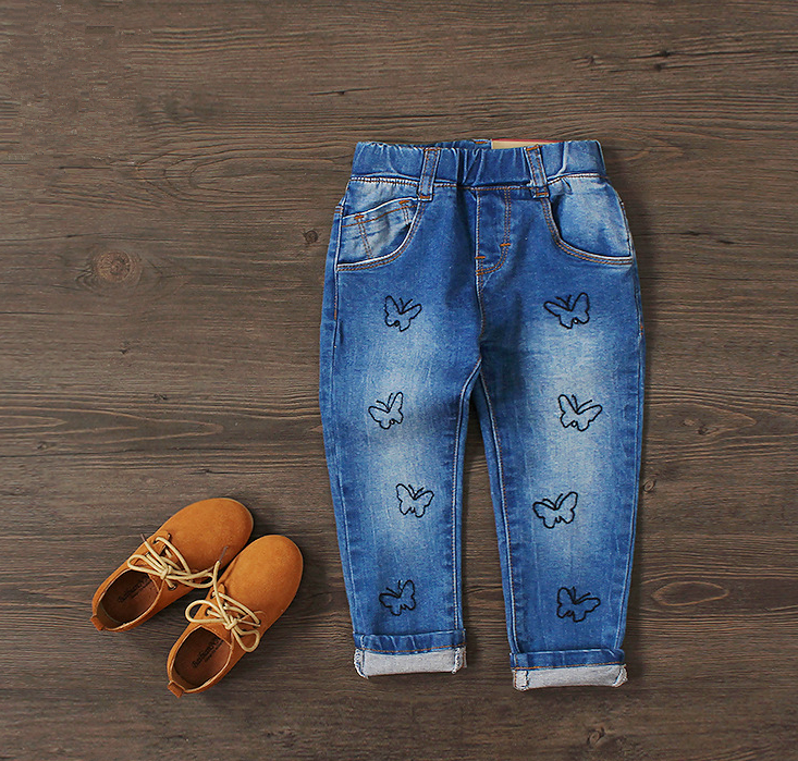 New Cotton Jeans Baby Girls Fashion Denim Jeans Girls Butterfly-embroidery Jeans Kids Spring Autumn Trousers Child Long Pants new 2015 autumn winter fashion baby kids boys long sleeve shirt jeans denim trousers set outfits 1 6y