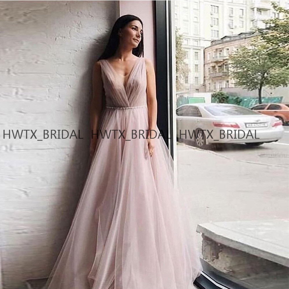 Blush Pink Tulle   Prom     Dresses   Plus Size A Line Sleeveless Elegant Long   Prom     Dress   2019 Formal Gown Vestidos de fiesta de noche
