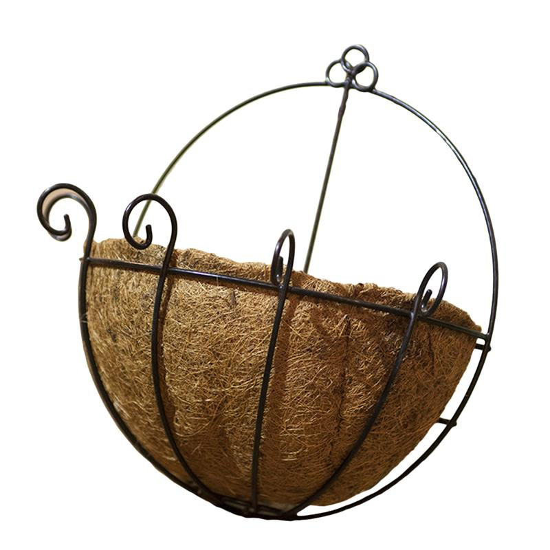 Garden Pots & Planters Flower Pots & Planters Bestoyard Metal Hanging Planter Coconut Basket Round Steel Wires Plant Holder Decor Hanging Flower Pots Outdoor Hanging Baskets