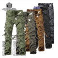 stylish military style  Multi-Pocketed Solid Color Mens Long Cargo Pants High Quality pure cotton Plus Size 30-46  man Trousers