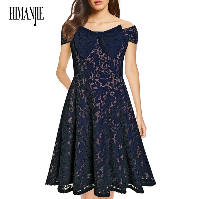2018 Women 50S Party Dress Vestidos De Fiesta Summer Dress New Word Shoulder Bow Vintage Lace Slim Sexy Dress