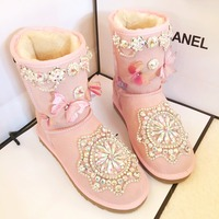 New winter leather warm snow boots luxury cowhide rhinestone three dimensional butterfly sweet beauty style boots large size.