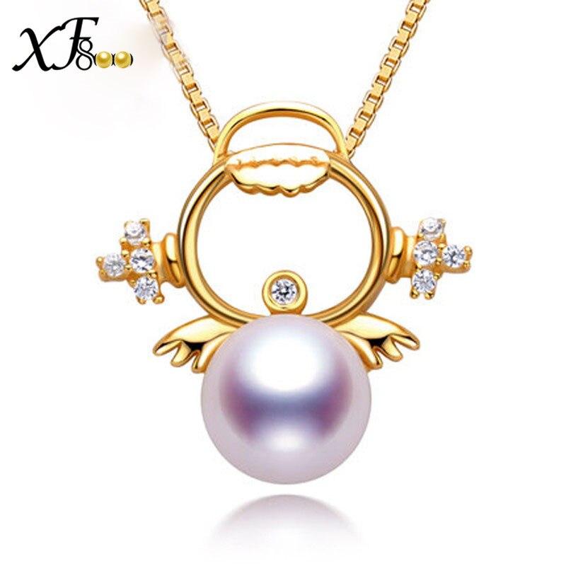 Фото XF800 925 Sterling Silver Pearl Jewelry  AKOYA Pearl Necklace Pendant Good Luster Fine 8-8.5MM Round Sea Water Pearl  Angel S08. Купить в РФ