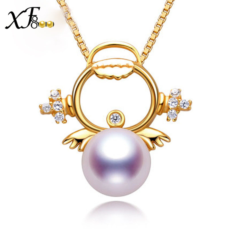 XF800 925 Sterling Silver Pearl Jewelry AKOYA Pearl Necklace Pendant Good Luster Fine 8 8.5MM Round Sea Water Pearl Angel S08