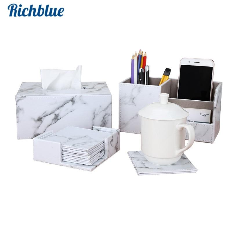 Fashion Marble Desk organizer sets with PU leather Tissue box, 6 pcs/set Cup Coaster/Tea Mats, Marble Pen Holder