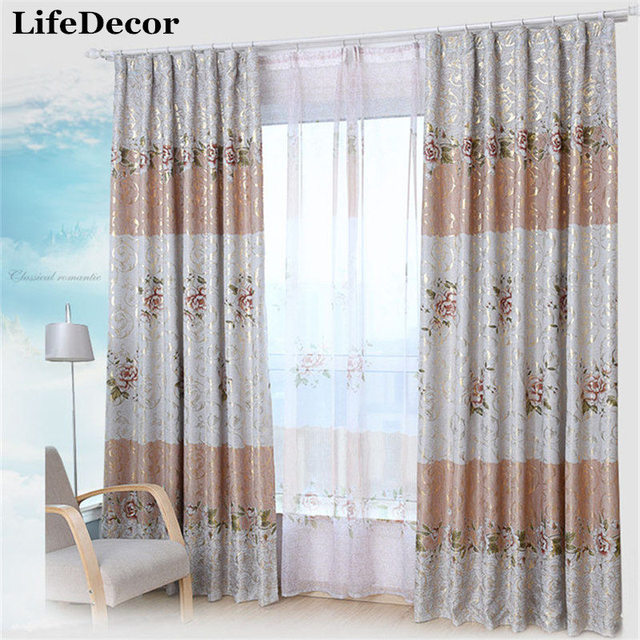 Continental Printed Window Curtains Finished Thicker Custom Living Room Bedroom Full Shade Blackout Curtain