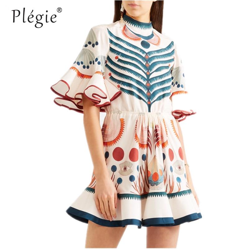 Платье в стиле Харадзюку, Летнее мини-платье с рукавами-фонариками и оборками в стиле бохо