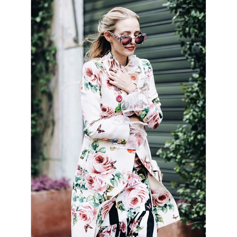 Runway Floral Printed Long Trench Colorful Buttoned Double-breasted Woman Fashion Coats 2018 Autumn Winter buttoned cuffs